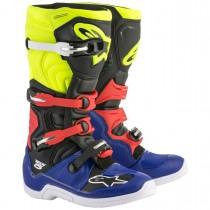 Bota Alpinestars Tech-5 Azul/Preto/Amarelo/Vermelho 40/41(BRASIL) 43(EURO) 09(EUA)