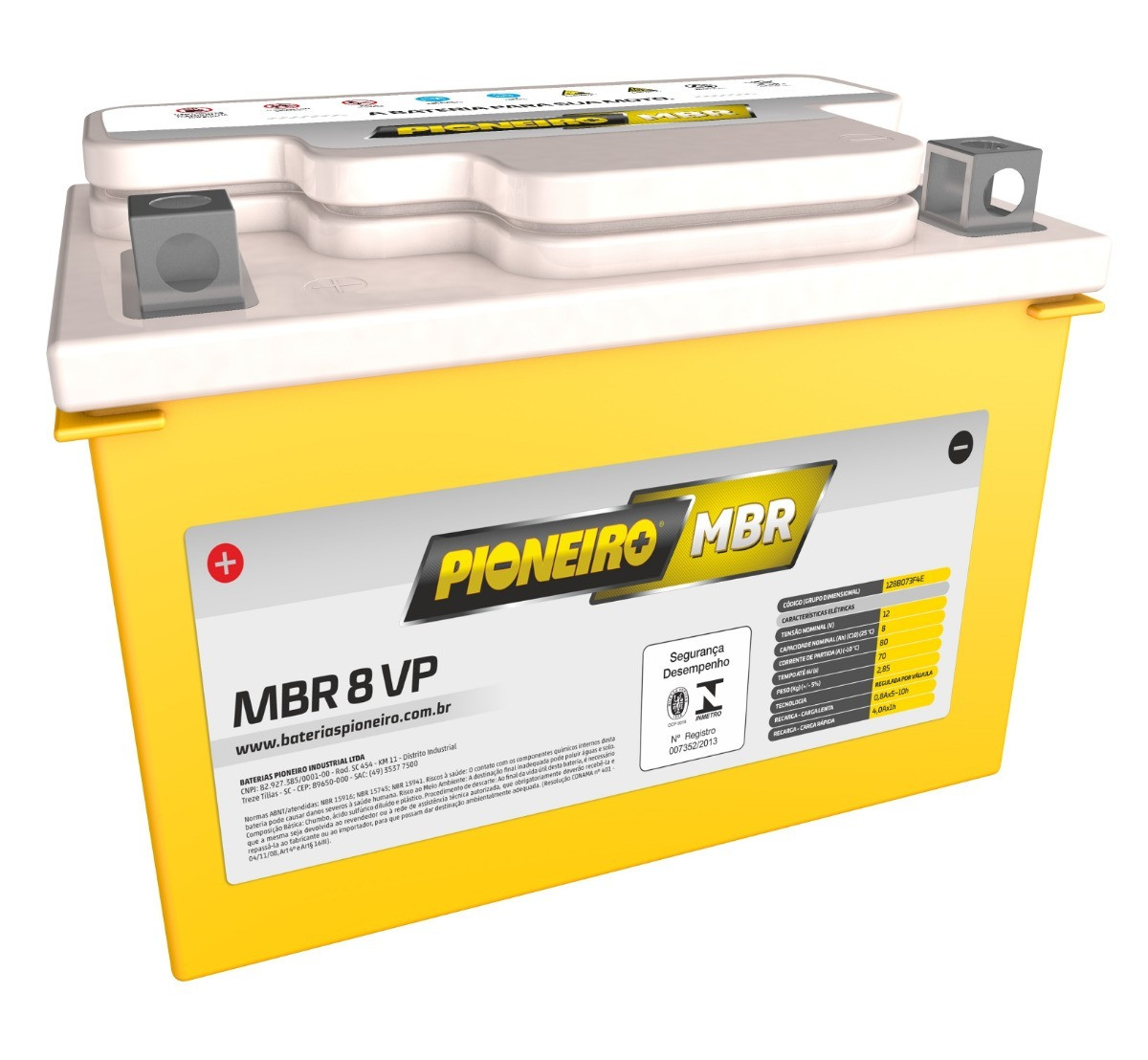 Bateria Pioneiro Mbr8-Vp 12v/8ah Cb500 CBR600 87/00 CBR 900r/Rr 93/99 Hornet 600 08/10 NC 700 NX 650 Shadow 60 0 Burgman 400 Xt600 93/05 Gsx-R 600