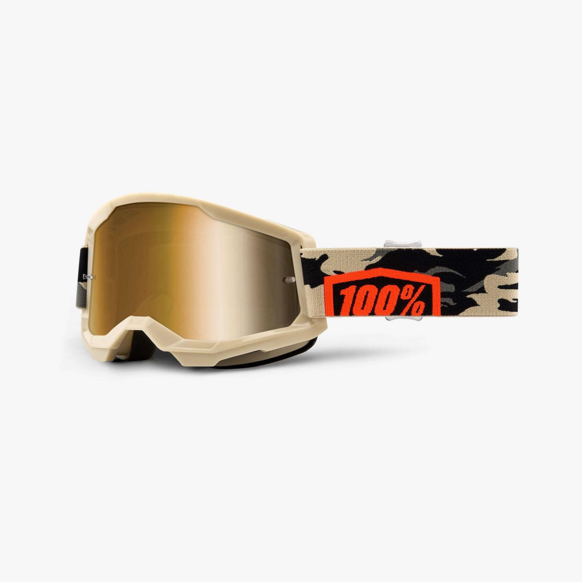 Óculos 100% Strata 2 Espelhado Kombat Bege
