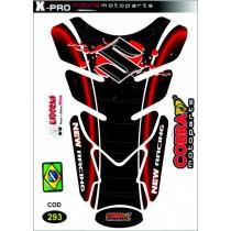 Proteção Tanque Cobra Logo Suzuki Vermelho/Preto